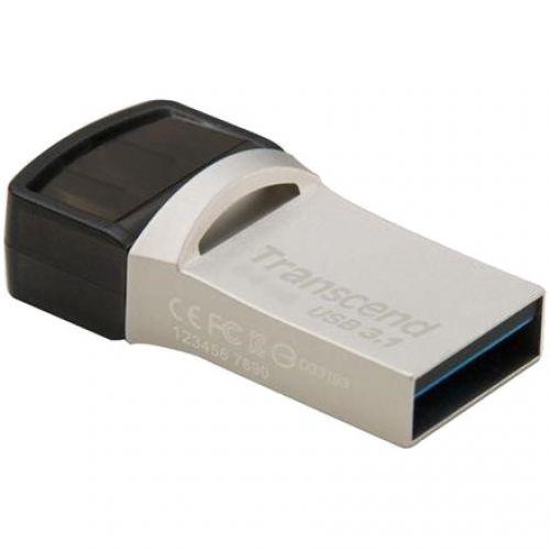 USB 32 GB JetFlash 890S, USB3.1, USB Type-C, OTG, 90/30 MB/s, Metalic, Ultra slim, Silver