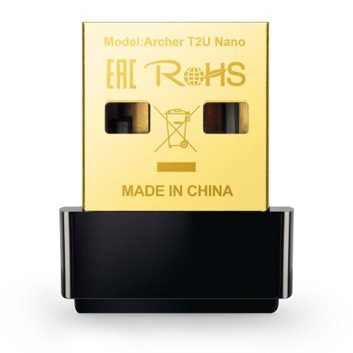 ARCHER T2U NANO Wi-Fi USB Adapter 150Mbps/433Mbps(2.4GHz/5GHz) AC600 Dual-Band 802.11, WPA2/WPA